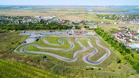 Track for karting. Aerial view royalty free stock photo