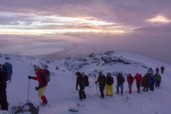 Track on Kilimanjaro to highest peak on the Machame Route Whiskey. 5 day Stock Photography