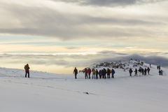 Track on Kilimanjaro to highest peak on the Machame Route Whiskey. 5 day Stock Images