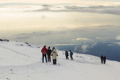 Track on Kilimanjaro to highest peak on the Machame Route Whiskey. 5 day royalty free stock photos