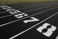 Track Lanes 1-8. White and black numbered lanes 1-8 on track field royalty free stock images