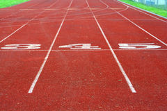Track Lanes. Numbered lanes of a high school running track royalty free stock images