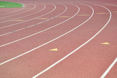 Track Lanes. Athletic track lanes showing a left curve royalty free stock photo