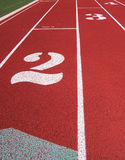 Track Lanes. Lanes on a running track stock photography