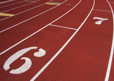 Track Lanes. Photo of lanes on a running track stock photos