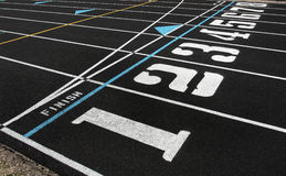 Track Lanes and Finish Line. Lanes 1-8 on track field and finish line royalty free stock photos