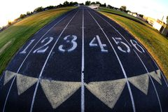 Track Lanes Race Racing Run Running Fisheye Lens Round with Numbers stock photos