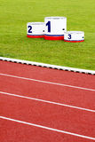 Track lanes with winner's podium Royalty Free Stock Photo
