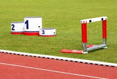 Track lanes, winner's podium, hurdles Royalty Free Stock Photography