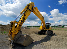 Track Loader. Construction Front End Loader With Large Excavating Bucket Attached Royalty Free Stock Image