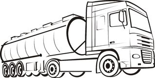 Track & lorry. Long vehicle, oil tanker truck, tir Royalty Free Stock Photography