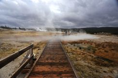 A track in the mist. This is a track found in the yellow stone national park stock photography
