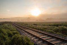 Track in misty landscape at sunrise Royalty Free Stock Photo