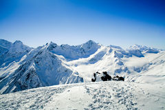 Track people on mountain. Elbrus. Royalty Free Stock Photo