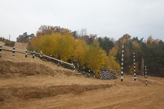 Track racing in the autumn forest. Landscape Stock Photo
