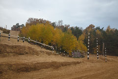 Track racing in the autumn forest. Landscape. Toned.  Royalty Free Stock Photo