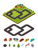 Track Racing and Element Set Isometric View. Vector Stock Image