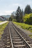 Track with rails for train or train Royalty Free Stock Photos