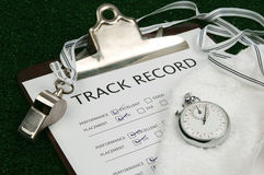 Track Record close-up Stock Photo