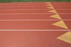Track Right. Triangles on a running track Stock Photos