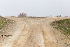 Track road in the desert. In the park in nature Royalty Free Stock Image