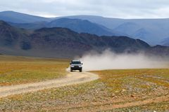 Track on road in the Mongolia Stock Photography