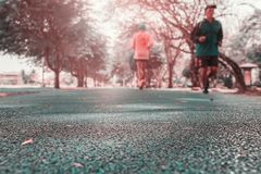 Free Track Run Rubber Cover Blue In Public Park Jogging Exercise For Health And Blur People Runner Royalty Free Stock Images - 152844069