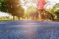 Free Track Run Rubber Cover Blue In Public Park Jogging Exercise For Health And Blur People Runner. Select Focus With Shallow Depth Of Royalty Free Stock Photo - 152843685