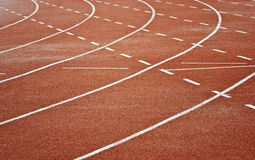Track running. Curve line of track running for sport background royalty free stock photo