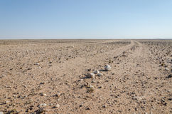 Track running through flat rocky and arid desert scenery in ancient Namib Desert of Angola. The piste is barely visible and rarely driven Royalty Free Stock Images