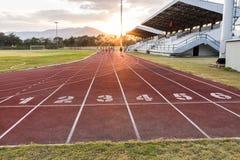 Track running. In sport club stock photo