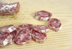 Track of salami. Royalty Free Stock Photo