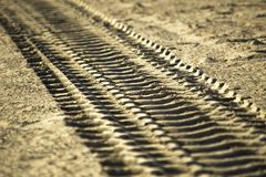 Track in the sand royalty free stock image