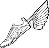 Track Shoe and Wing Vector. Vector Illustration of a Track Shoe with Wings Royalty Free Stock Photo