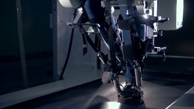 Track simulator is helping to restore physical activity of human legs. 4K stock video footage