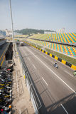 Track and spectator seats for the Macau Grand Prix. Royalty Free Stock Images