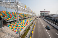 Track and spectator seats for the Macau Grand Prix. Stock Images