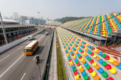 Track and spectator seats for the Macau Grand Prix. Royalty Free Stock Image
