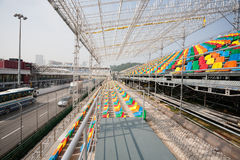 Track and spectator seats for the Macau Grand Prix. Royalty Free Stock Photos