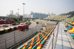 Track and spectator seats for the Macau Grand Prix. Stock Photos