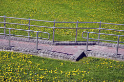 Track on the spring meadow with rails Stock Image