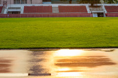 Track at Stadium reflection the sun in the morning , Bangkok in Thailand Royalty Free Stock Photo