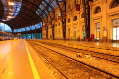 Track and station platforms Royalty Free Stock Images