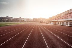 Football field tracks and stands stock photo