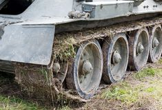 Track T-34 tanks on the field Royalty Free Stock Image