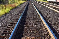 On track. Taken to make the tracks go into infinity Stock Photos