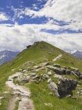 Track to mountain peak. Track to the alpine mountain peak Stock Photos