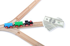 Track to success. Chooshing the right path to sucess with money Stock Photography
