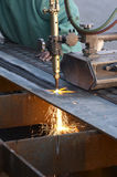 Track torch. Burning steel stock photography