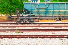 Track and train dirty cargo parking  At the station with copy space add text. select focus with shallow depth of field. Track and train dirty cargo parking At Stock Photography